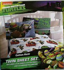 Nickelodeon Teenage Mutant Ninja Turtles Twin Sheet Set Flat Fitted Standard New