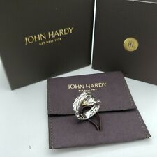 New John Hardy Sterling Silver Modern Chain Black Spinel Bypass Ring Size 7