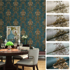 10M New Retro Luxury Gold Damask Wallpaper Deep Embossed Textured Non-woven Roll