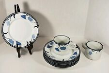 Dansk Tivoli La Tulipe Blue Set of 6 Bread Dessert Plates and 2 Coffee Mugs Cups