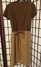 VTG 1960s Carlye S/M Wiggle Dress brown tan felt Colorblock belt Pencil Skirt