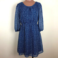 Anthropologie Tulle BLUE Sheer Tulle Fully Lined Boho Dress Size Small