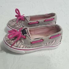 Sperry Top-Sider Pink & Grey Animal Print Sequence Shoes Toddler Size 5.5