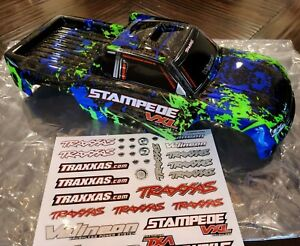 Traxxas STAMPEDE VXL Body Green Blue Black 2wd velineon fits XL-5 and 4x4 - NEW