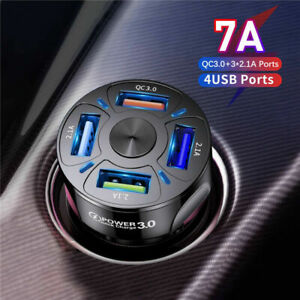 Car Charger USB Fast Charging QC3.0 Cigarette Lighter Adapter for iPhone Samsung