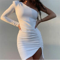 One-Shoulder  Dress Pleated  Party Long Sleeve Empire Sexy  Summer  Cocktail