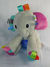 "Bright Starts Taggies Gray Elephant 9"" Tall Plush Stuffed Baby Crib Toy"