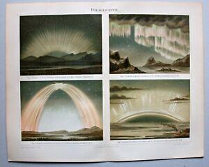 Aurora Borealis, Polarlicht - 4 Abbildungen - Chromolithographie um 1896