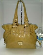 Dooney and Bourke Beige Patent Leather Tote Shoulder Bag w Magnetic Snap Closure