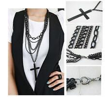 Retro Fashion Women Vintage Cross Pendant Long Chain Charm Necklace New BYCX17