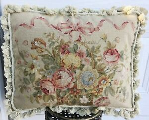 Needlepoint Pillow Cushion Cover Pillowcase Basket of Rose Bouquet Ribbon 16x20