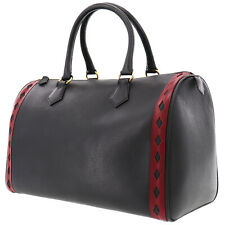 Yves Saint Laurent Boston Hand Bag Black Red Leather Italy Authentic #AB470 Y