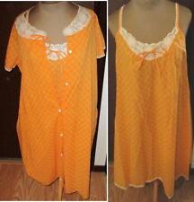 "Gossard Artemis Size S Orange & White Cotton Robe & Gown Set 34+"" Bust, 38"" Long"