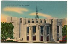 Naval Armory Vintage Linen Postcard Indianapolis Indiana WW2