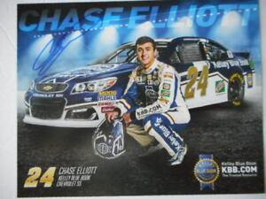 Chase Elliott signed/auto 2016 #24 KELLY BLUE BOOK Nascar ROOKIE 8x10 HERO CARD