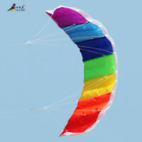 1.4m Rainbow Power Dual Line Stunt Parafoil Parachute Beach Kite Beginner Sports