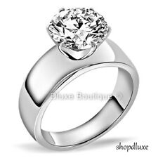 3.85 Ct Round Cut CZ Stainless Steel Engagement Wedding Ring Women's Size 5-10