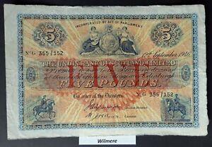 Union Bank of Scotland £5 (S811d) G prefix 1946  *GVF*