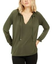 Michael Kors Women's High Neck Tasseled Blouse Top, Green, Size XL, NwT