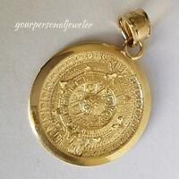 Solid Real 14k Yellow Gold Aztec sun calendar Pendant Charm 1.1 inch long