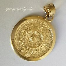 Solid Real 14k Yellow Gold Aztec sun calendar Pendant Charm 1.1 inch long