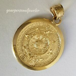 Solid Real 14k Yellow Gold Aztec sun calendar Pendant Charm 1.25 inch long