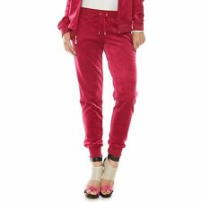 NWT Juicy Couture Rose Velour Joggers Pants XL $54 GIFT banded sweats w/pockets