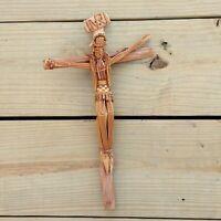 Vintage Straw Art Crucifix Jesus Christ On Cross Hand Crafted Folk Art