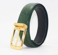 Men's Belt Genuine Crocodile Alligator Skin Leather Belt HANDMADE, Green, W3.5cm