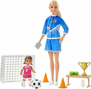 BOX DAMAGED Barbie Soccer Coach Playset with Blonde Soccer Coach & Student Doll