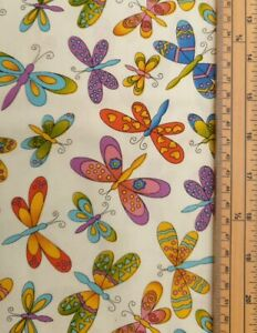Dragonfly fabric UK 100% cotton material metres colourful eye catching flying