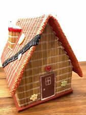 Vintage Straw Cottage House Shaped Sewing Box With Pin Cushion Made In Japan