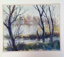 "Large Original Lake Scene Watercolor Painting Althea Shepstone 9"" x 11"""