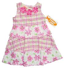 Girls Dress 2T Pink Floral Plaid Sleeveless Tiered Cotton New Sweet Potatoes