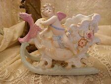 Antique / Vintage Bisque Porcelain Cherub Cupid in a Sleigh Figurine German