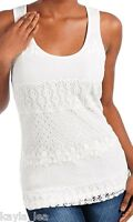 Ivory/Off White Lace Overlay Front Sleeveless Tank Top S
