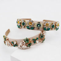 Baroque Women's Crystal Hairband Crown Headband Tiara Wide Hair Band Accessories