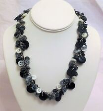 Black Gray Mother of Pearl Linked Button Necklace