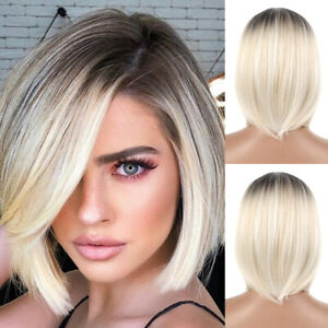 Women Blonde Full Bob Wigs Short Ladies Hair Real Natural Straight Party Cosplay