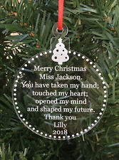 Personalised Teachers Gift Engraved Acrylic Christmas Ornament - Made in Aus