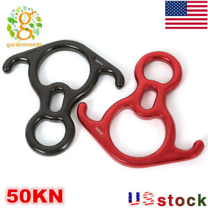 50KN Rescue Figure 8 Descender Large Bent-ear Rappel Gear Belay Device Climbing