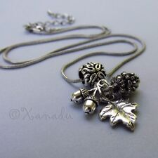 Silver Autumn Fall Pendant Necklace With Pine Cone, Acorn And Leaf Charms