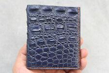 Handmade Blue Real Alligator Crocodile Leather Skin Men's Bifold Wallet