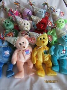 TY BEANIE BIRTHDAY BEARS WITH HATS  - MINT - RETIRED WITH TAGS