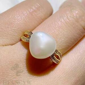 11-12mm White Baroque Pearl Open Adjustable Zircon Ring Gorgeous Hand-made Diy