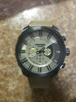 DIESEL CHRONOGRAPH DATE TAUPE DIAL LEATHER STRAP MEN'S WATCH DZ4354 PRE-OWNED
