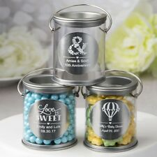 60 Personalized Silver Mini Paint Can Candy Tin Wedding Bridal Shower Favors