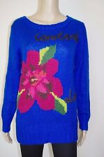 €89 DESIGUAL M WOMENs KNITTED SWEATER CREW NECK BLUE FLORAL JUMPER CARDIGAN LONG