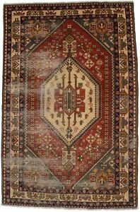 Antique Muted Rusty Red Tribal 5X8 Vintage Farmhouse Oriental Wool Rug Carpet
