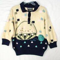 Vintage 1987 BEREK Novelty Sweater M CAT Kitten in a Basket Thick Pima Yarn Knit